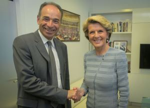 The Hon Julie Bishop MP, Foreign Minister of Australia, meets Mr Jean-François Copé, Leader of the Union for a Popular Movement, (UMP) at the UMP offices, Paris 24 April 2014.